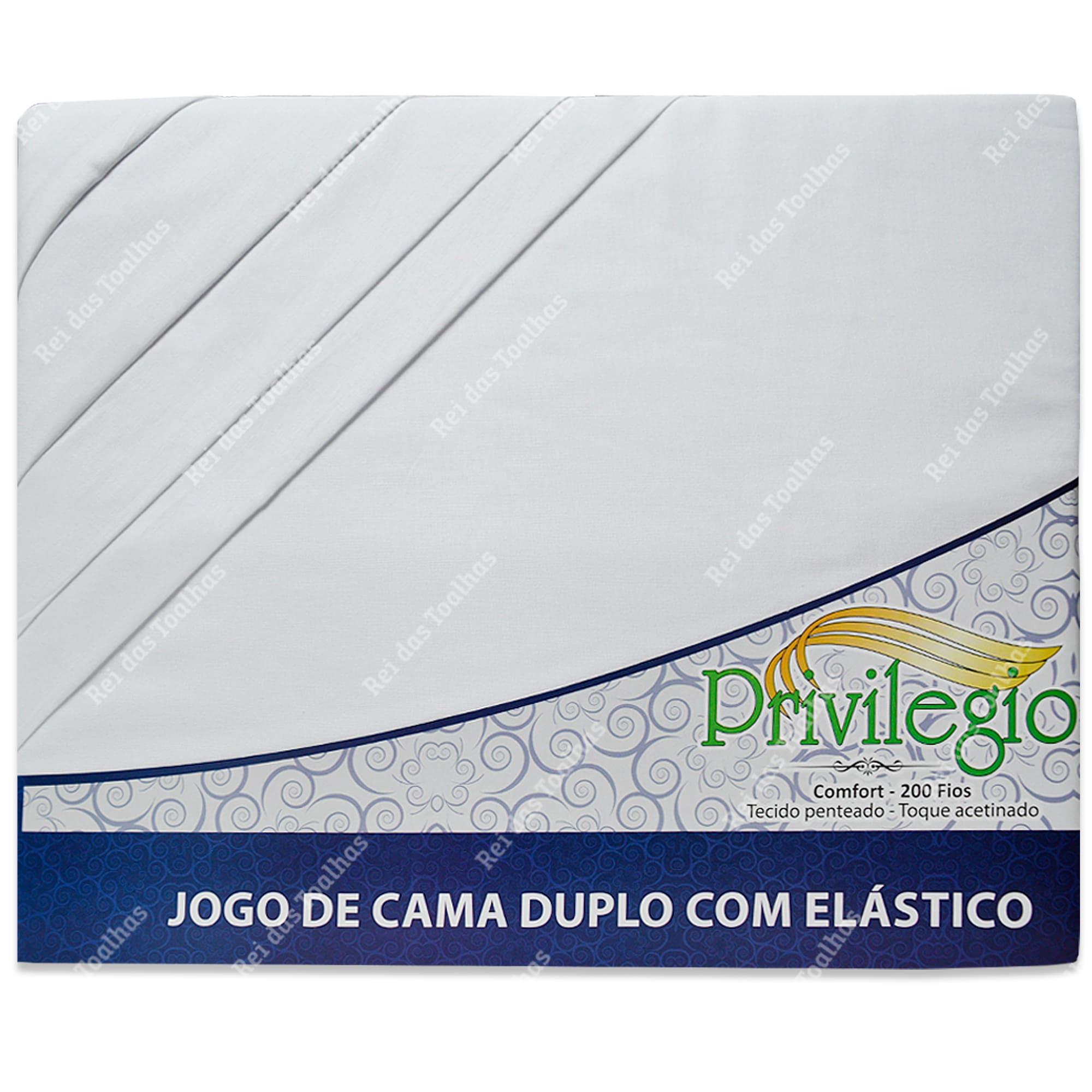Kit Com 3  Jogos De Cama Queen Duplo Com Elástico 200 Fios 4 Peças 100 % Algodão PRIVILÉGIO