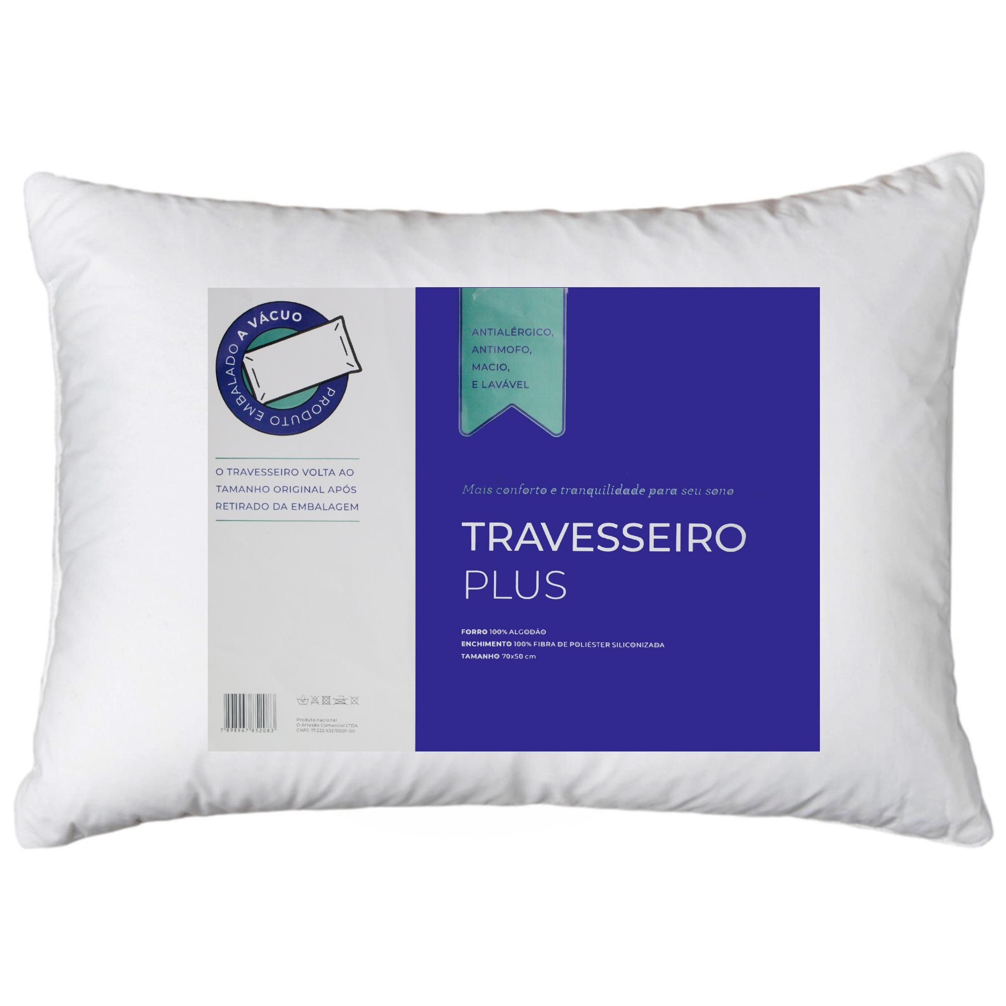 Travesseiro Embalado A Vácuo Linha Plus Percal Antialérgico / Antimofo 70cmX50cm ARTESÃO