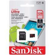 Cartão SANDISK Micro Sd 128gb Classe10 80mb/s