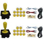 Kit 2 Comandos Aegir 20 Botões Corpo Branco 2 placas Zero Delay