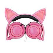 Headfone da orelhas de gato com pisca de LED Rosa