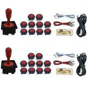 Kit 2 Comandos Aegir 20 Botões Corpo Preto 2 Placa Zero Delay Vermelho
