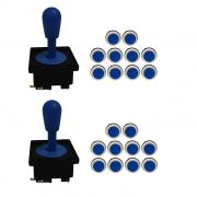 Kit 2 Comandos Aegir 20 Botões Corpo Preto Azul