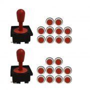 Kit 2 Comandos Aegir 20 Botões Corpo Preto Vermelho