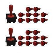 Kit 2 Comandos Aegir 20 Botões De Nylon Vermelho