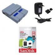 Kit Acessórios P/ Raspberry Pi 3 - 128gb Case Snes