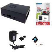 Kit Acessórios P/ Raspberry Pi 3 - 64gb Case Com Cooler