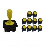 Kit Comando Aegir + 10 Botoes Corpo Preto - Amarelo