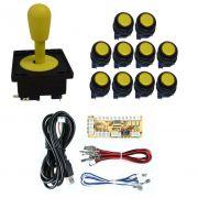 Kit Comando Aegir + 10 Botoes Corpo Preto + Placa Zero Delay - Amarelo