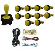 Kit Comando Aegir + 10 Botoes De Nylon + Placa Zero Delay - Amarelo
