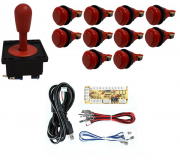Kit Comando Aegir + 10 Botoes De Nylon + Placa Zero Delay - Vermelho