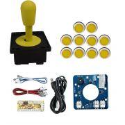 Kit Comando Aegir Magnético + 10 Botoes Corpo Branco +placa Zero Delay - Amarelo