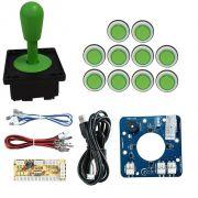 Kit Comando Aegir Magnético + 10 Botoes Corpo Branco +placa Zero Delay Verde