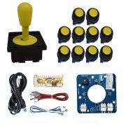 Kit Comando Aegir Magnético + 10 Botoes Corpo Preto + Placa Zero Delay - Amarelo