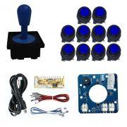 Kit Comando Aegir Magnético + 10 Botoes Corpo Preto + Placa Zero Delay - Azul