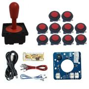 Kit Comando Aegir Magnético + 10 Botoes Corpo Preto + Placa Zero Delay - Vermelho