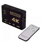 Switch 4K HDMI 3 Entrada 1 Saída com Controle Remoto