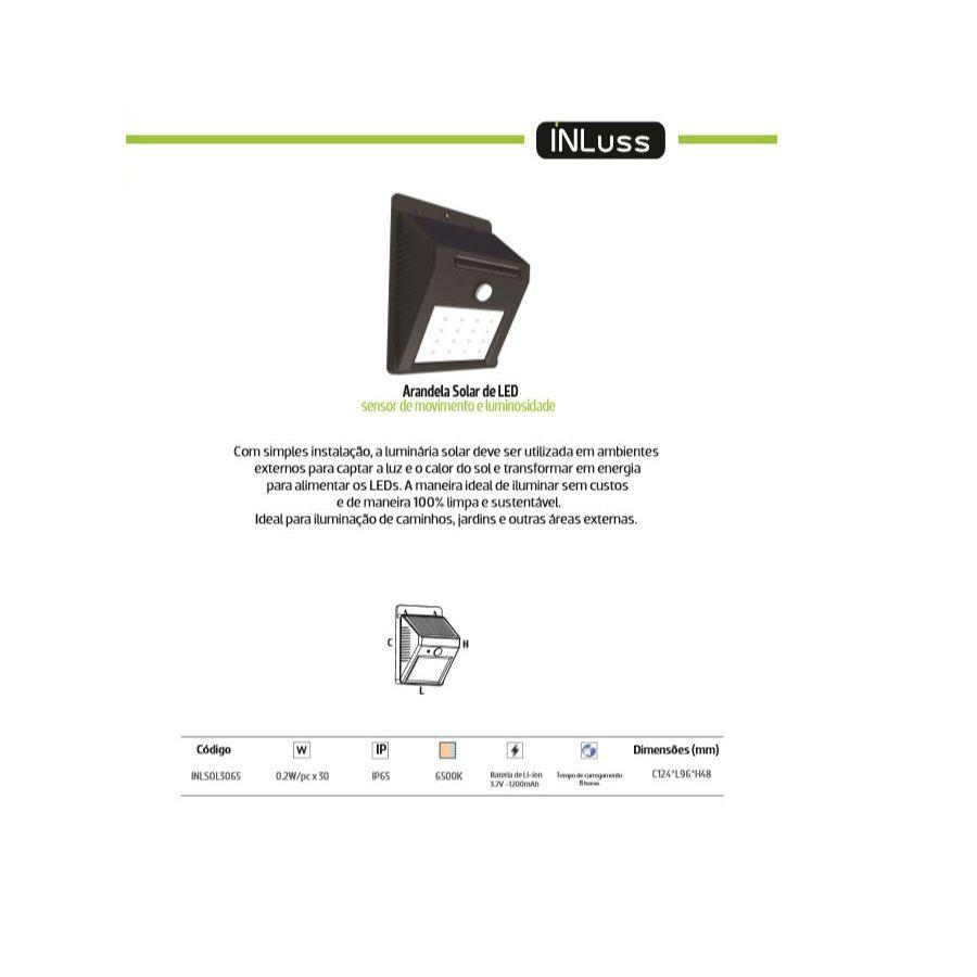 Arandela Led Solar de Parede com Sensor 6W Branco Frio