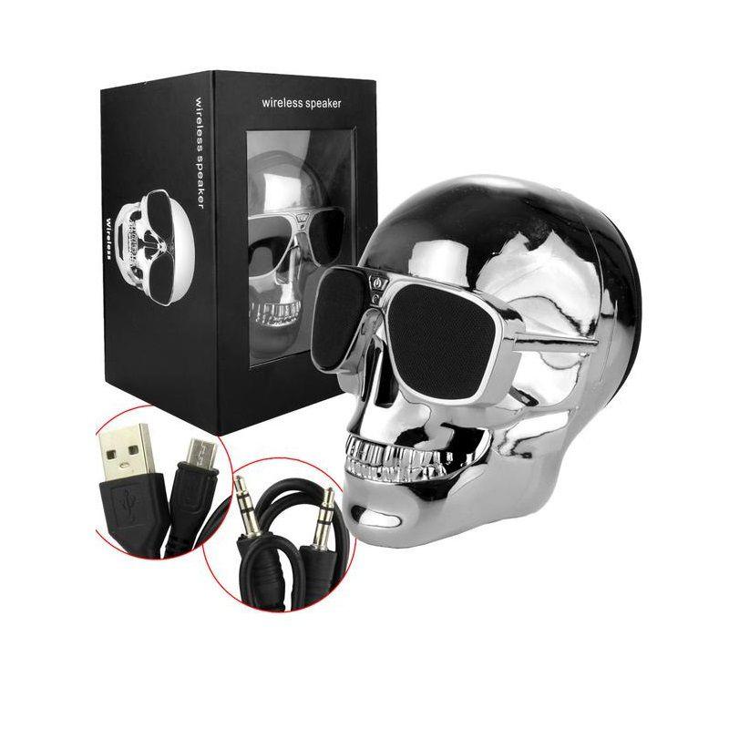 Caixa de Som Caveira com Bluetooth, Auxiliar P2 e Entrada Micro SD