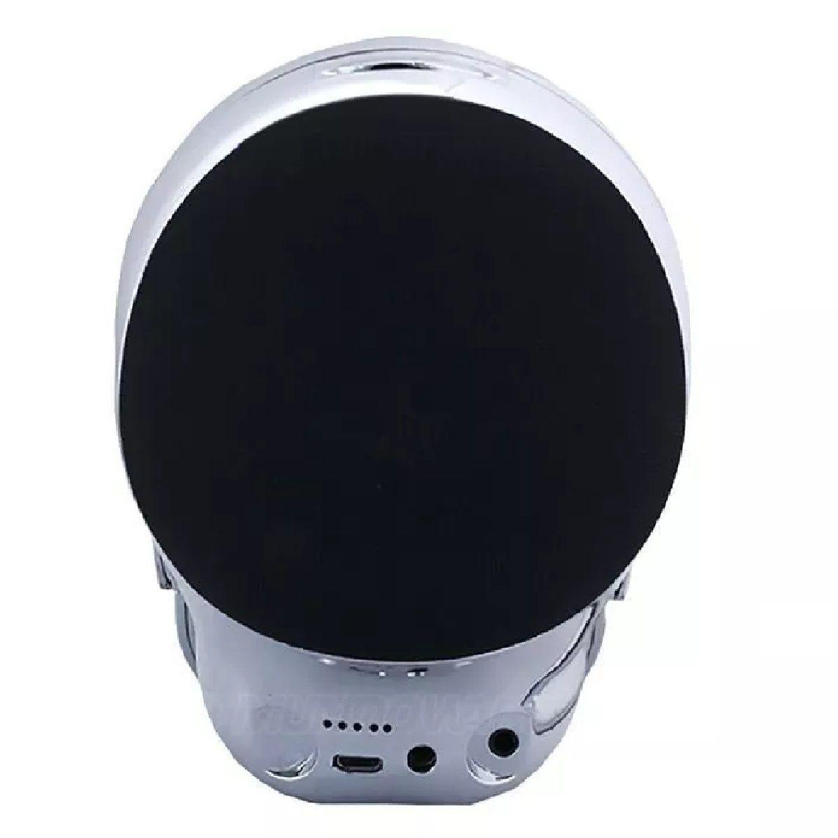 Caixa de Som Caveira com Bluetooth, Auxiliar P2 e Entrada Micro SD Prata