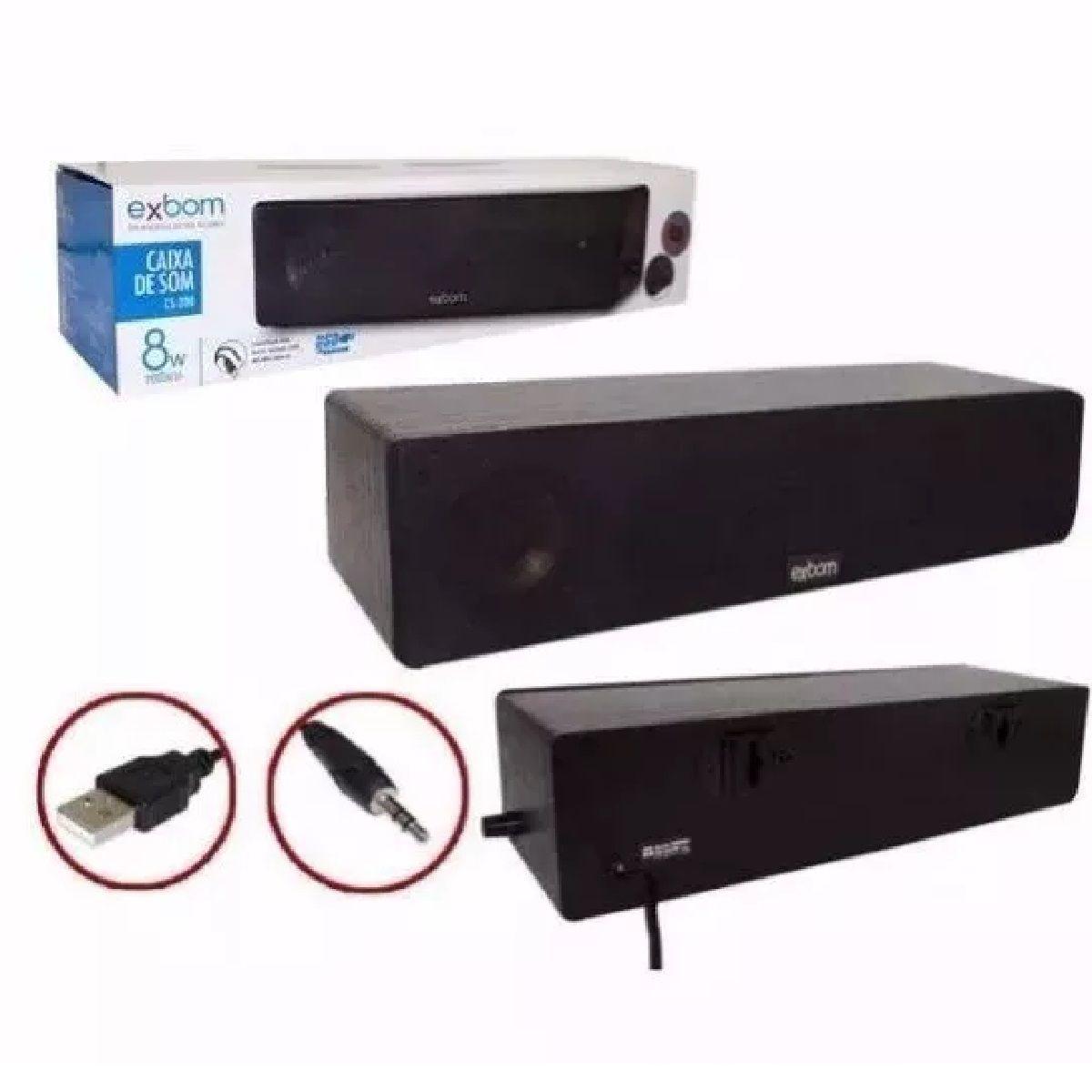 Caixa de som Sound Bar 8W em madeira com Bass de parede para televisão e computadores USB