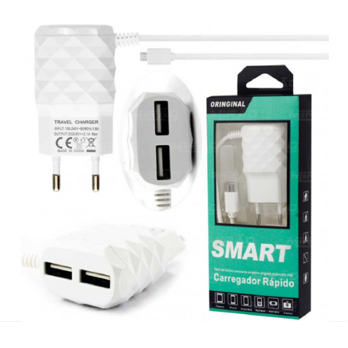 Carregador Rápido USB x 2 e Micro USB (V8) para Smartphone 4,1A Diamante