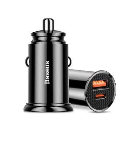 Carregador Turbo Veicular Para Iphone 11/12 tipo PD + USB Baseus