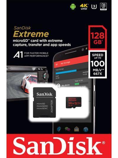 Cartão SANDISK Micro Sd 128gb Extreme A1 Speed 100mb/s