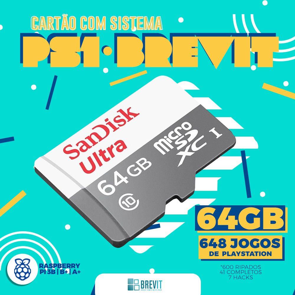 "CARTÃO BREVIT V7 64GB ""PS1"" P/ RASP B, B+ E A+"