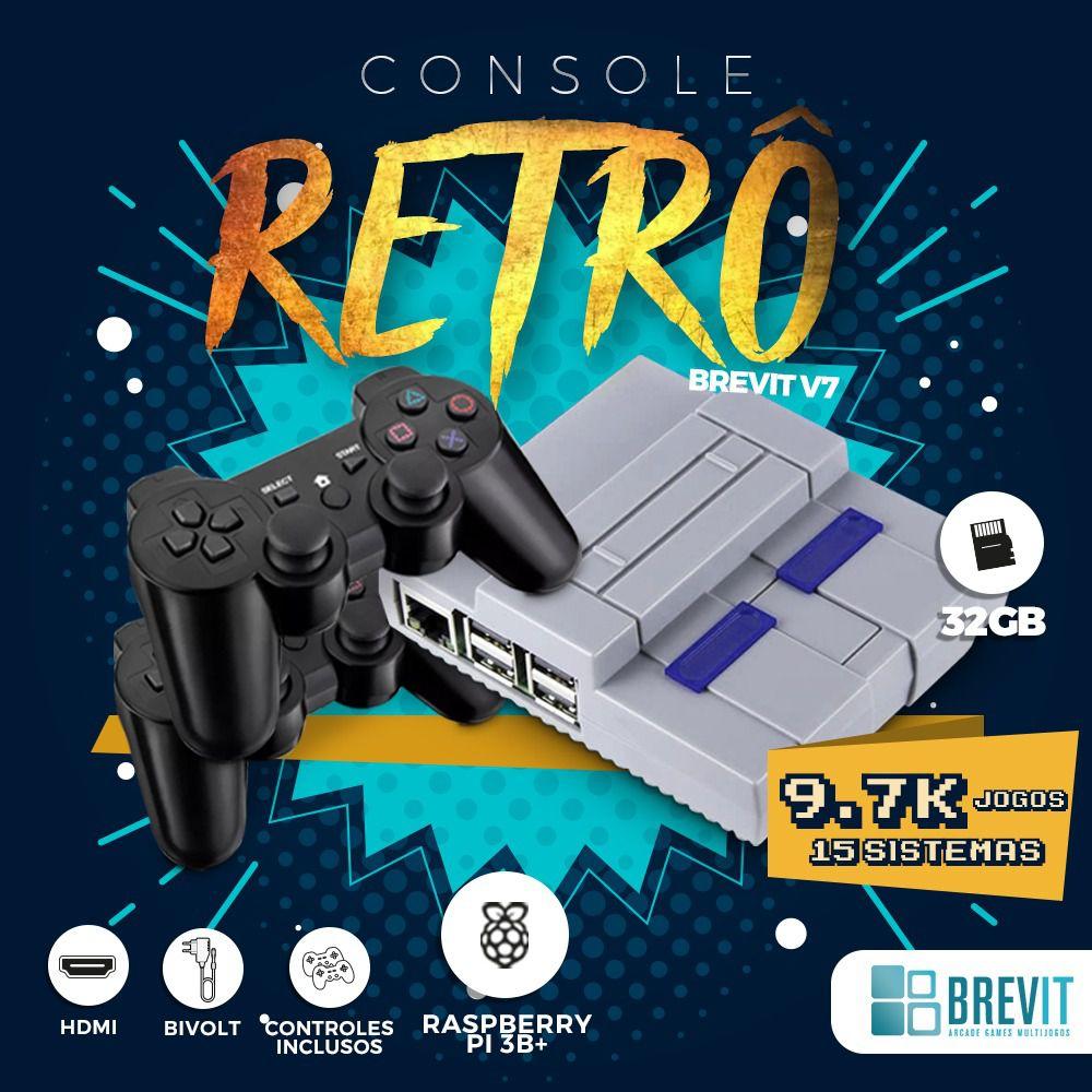 CONSOLE RETRO BREVIT V7 32GB P/ RASP B, B+ E A+