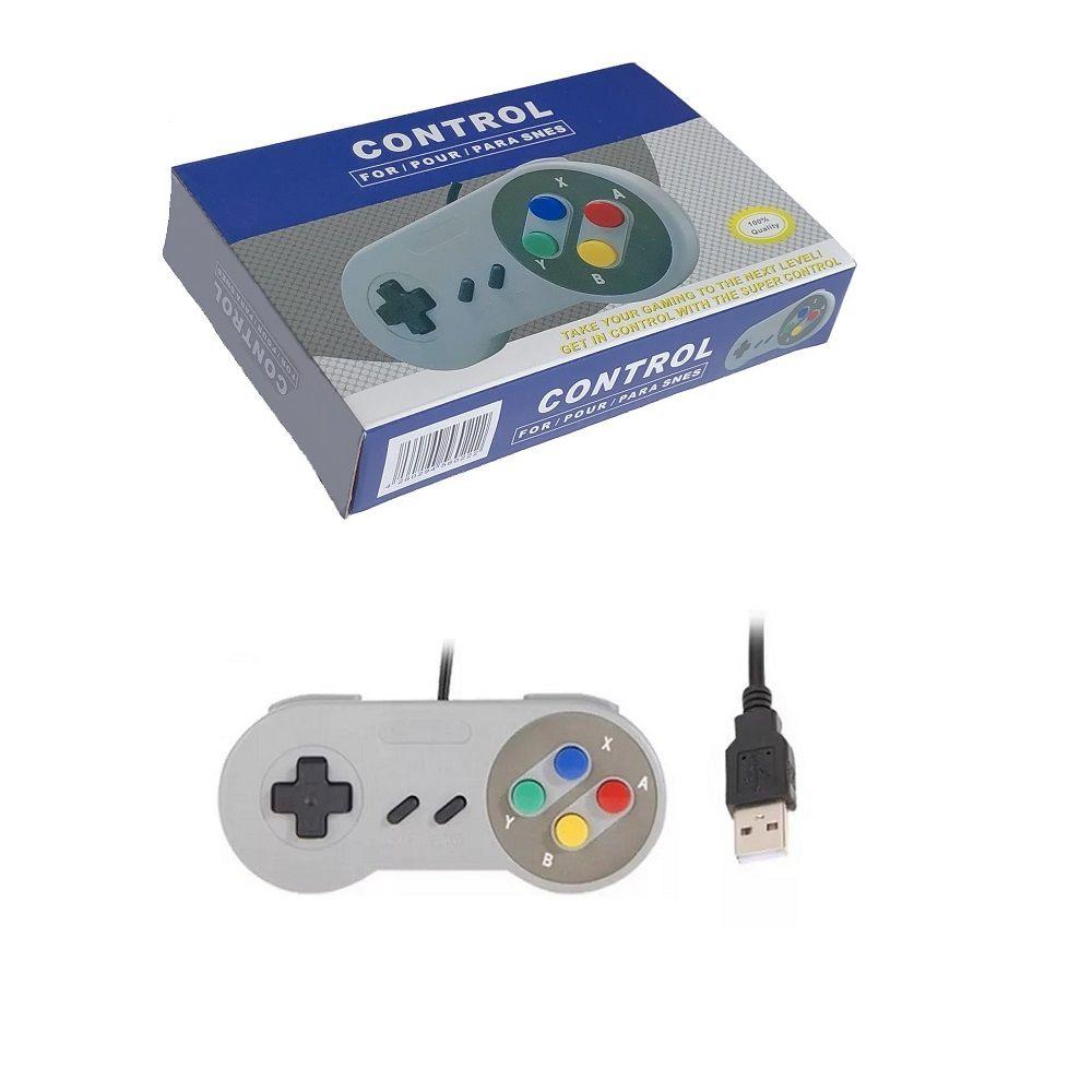 Controle Usb Super Nintendo Snes Joystick Windows Mac Linux Colorido - Super Famicom