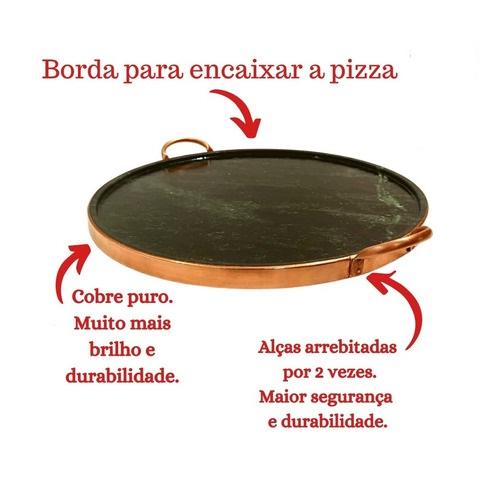 FÔRMA DE PIZZA EM PEDRA SABÃO P 27CM + Suporte