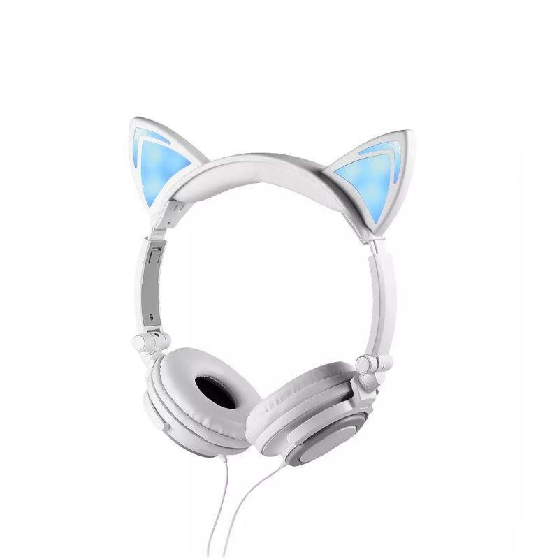 Headfone da orelhas de gato com pisca de LED Branco