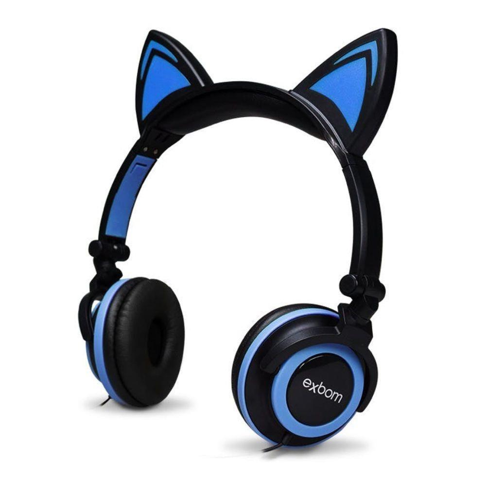 Headfone da orelhas de gato com pisca de LED Preto e Azul