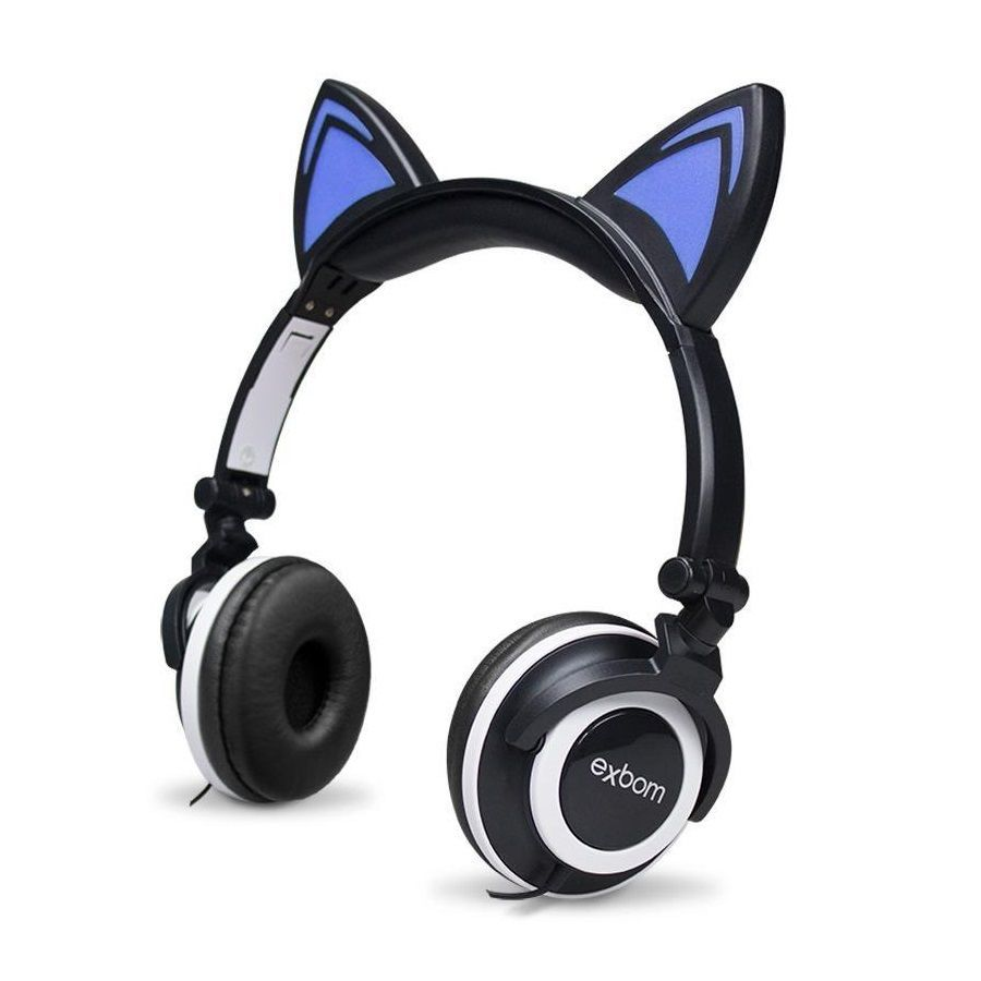 Headfone da orelhas de gato com pisca de LED Preto e Branco