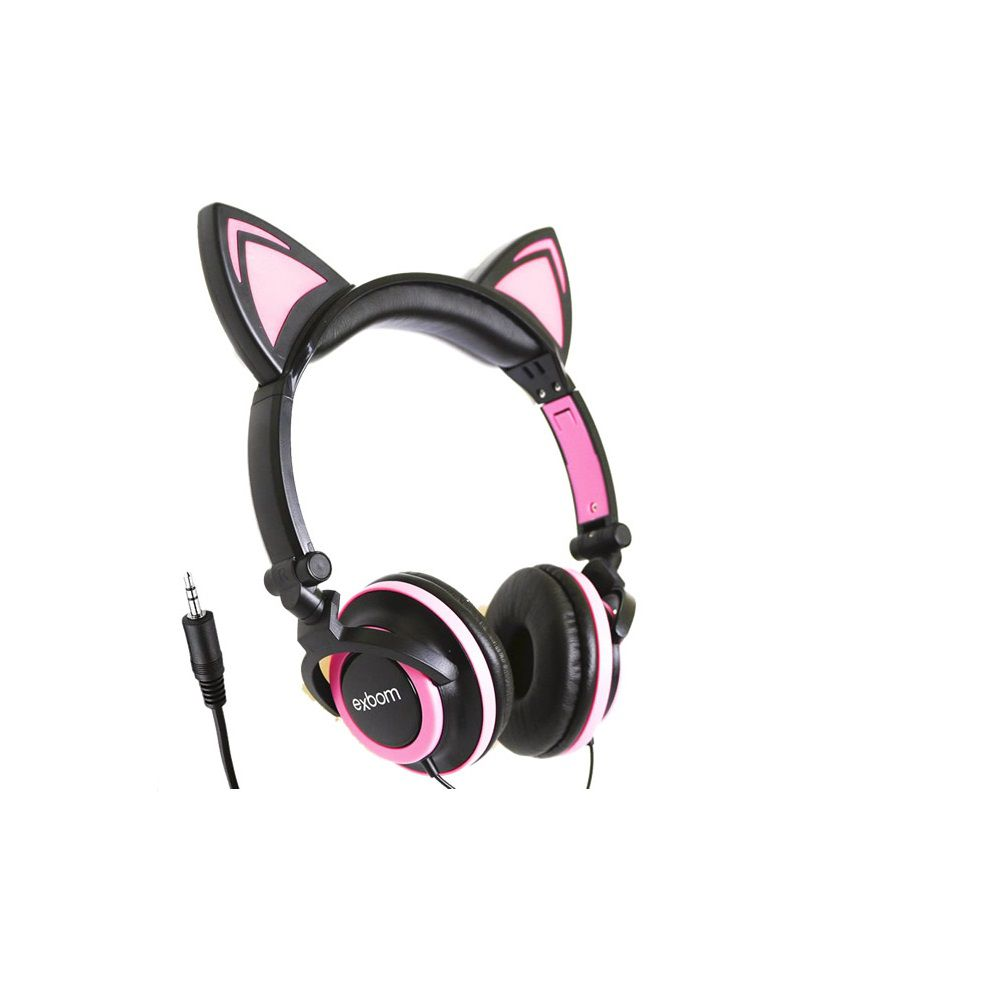 Headfone da orelhas de gato com pisca de LED Preto e Rosa