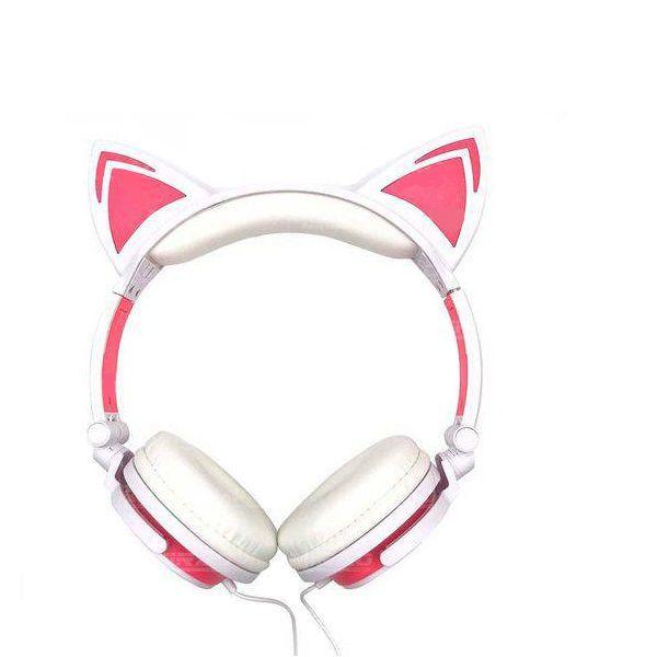 Headfone da orelhas de gato com pisca de LED Rosa e Branco
