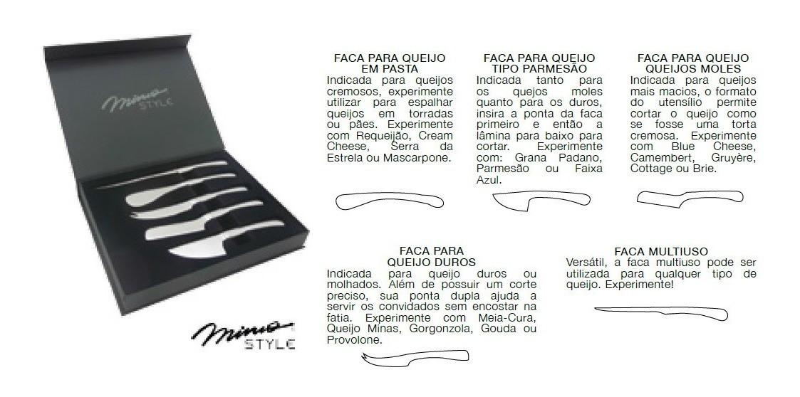 Jogo de Facas Para Queijo Inox 5 Peças com Estojo Mimo Style