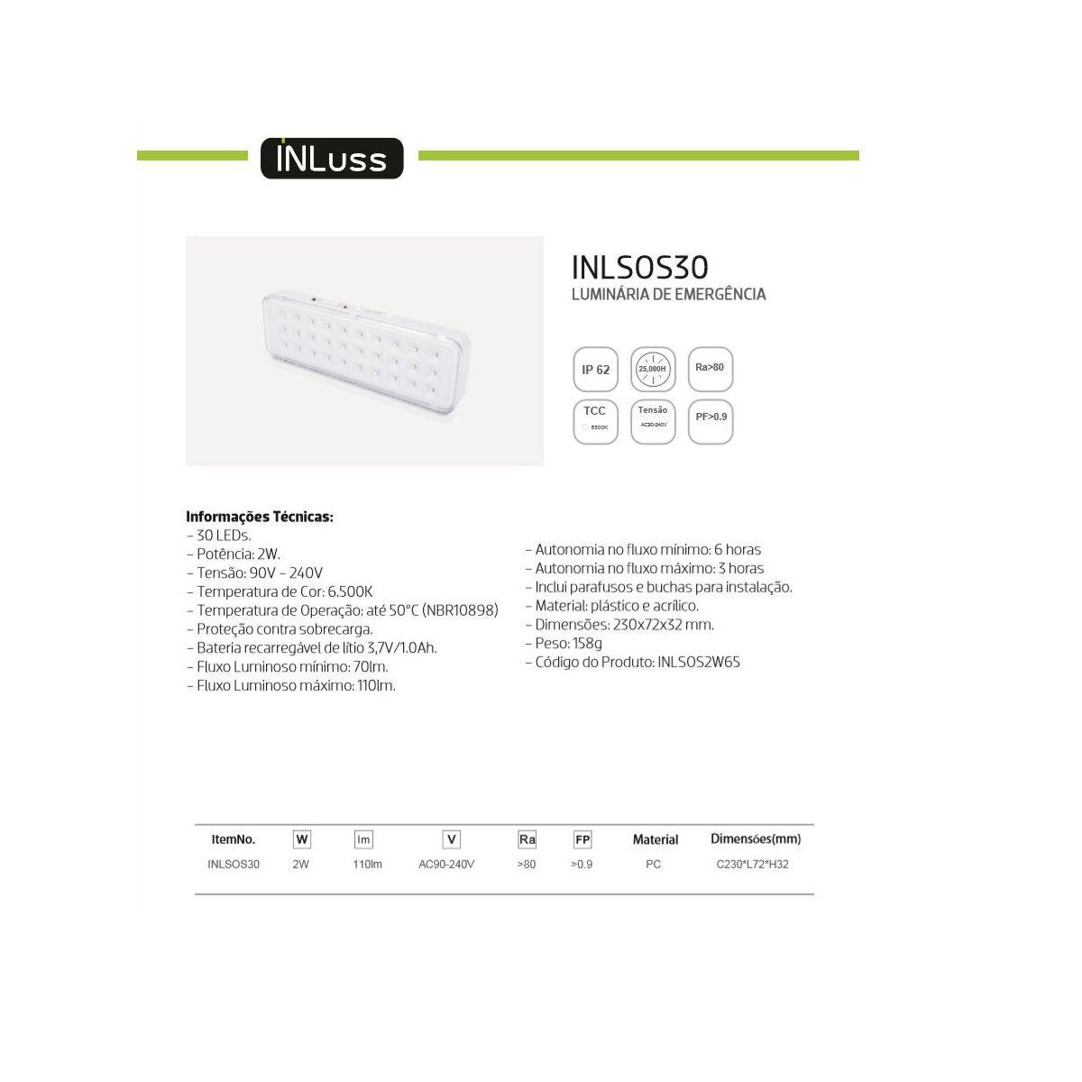 Kit 10 Luminária de Emergência 30 Led Branco Frio Bivolt