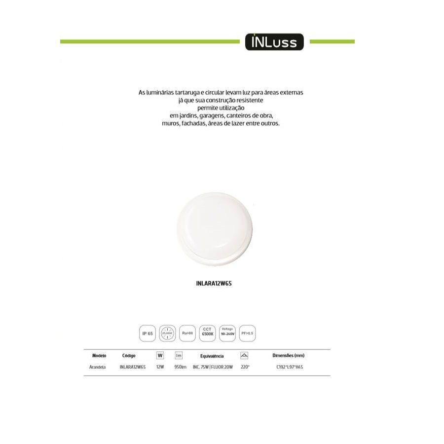 Kit 10 Luminária Led Redonda Área Externa Design Reto 12W Branco Frio Bivolt