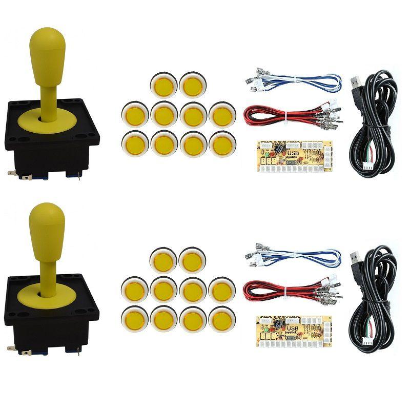 Kit 2 Comandos Aegir 20 Botões Corpo Branco 2 placas Zero Delay Amarelo