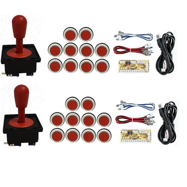 Kit 2 Comandos Aegir 20 Botões Corpo Branco 2 placas Zero Delay Vermelho