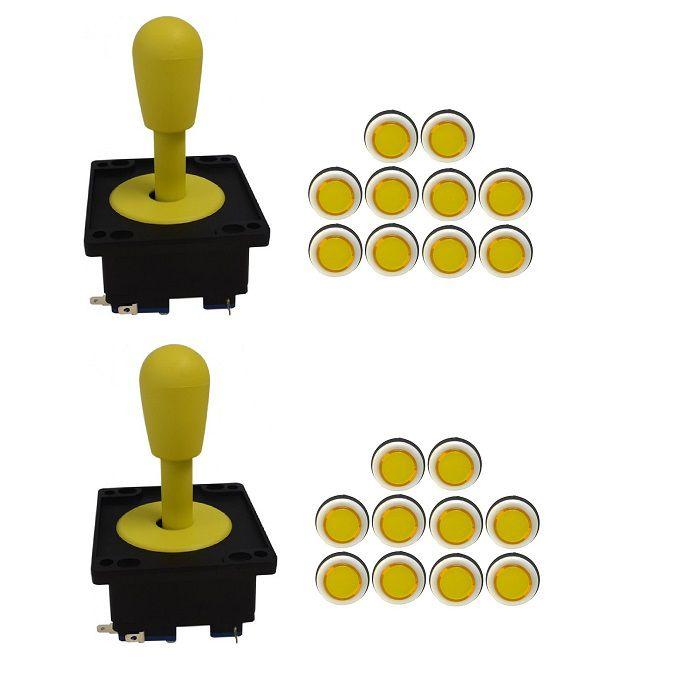 Kit 2 Comandos Aegir 20 Botões Corpo Branco Amarelo