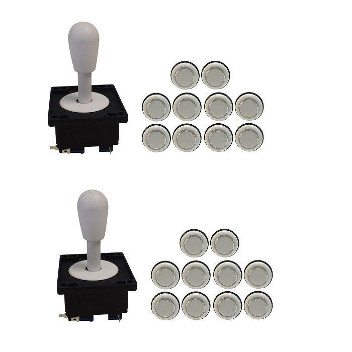 Kit 2 Comandos Aegir 20 Botões Corpo Branco Branco