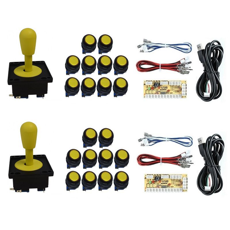 Kit 2 Comandos Aegir 20 Botões Corpo Preto 2 Placa Zero Delay Amarelo