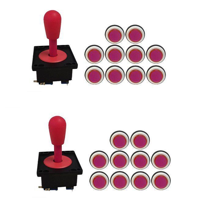 Kit 2 Comandos Aegir 20 Botões Corpo Preto Rosa