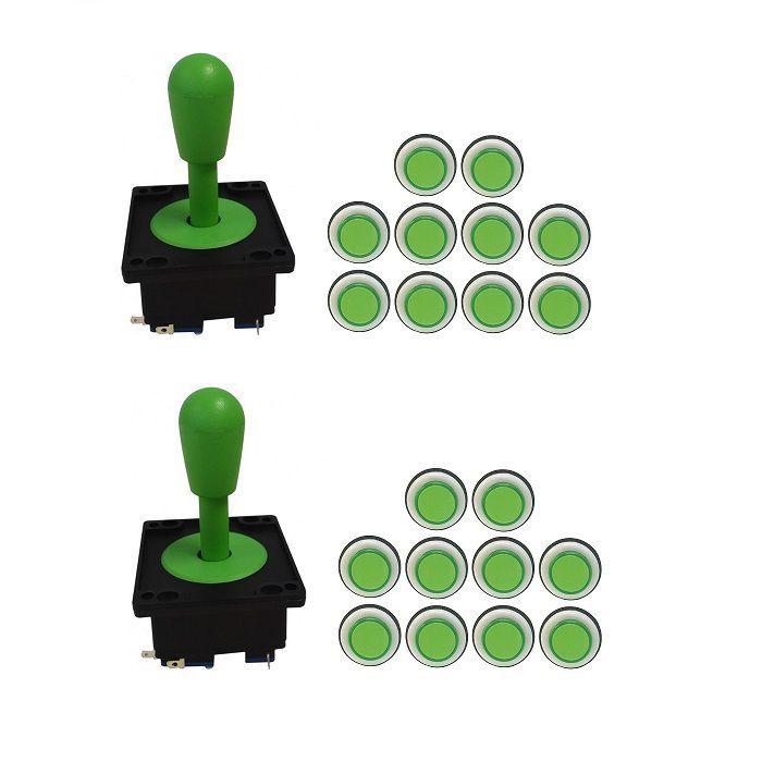 Kit 2 Comandos Aegir 20 Botões Corpo Preto Verde