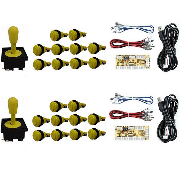 Kit 2 Comandos Aegir 20 Botões De Nylon 2 Placa Zero Delay Amarelo