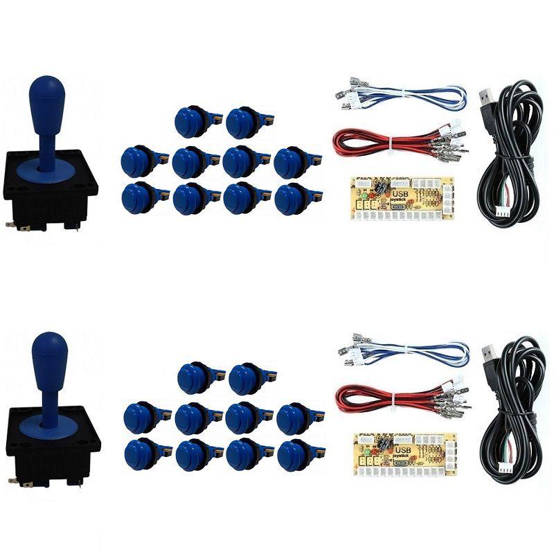 Kit 2 Comandos Aegir 20 Botões De Nylon 2 Placa Zero Delay Azul
