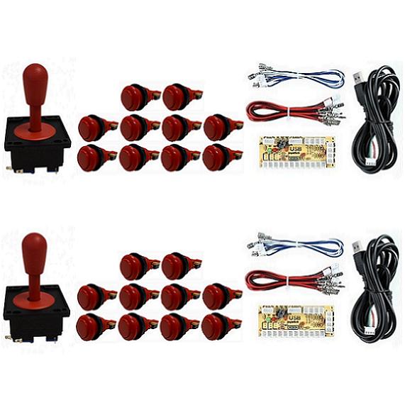 Kit 2 Comandos Aegir 20 Botões De Nylon 2 Placa Zero Delay Vermelho